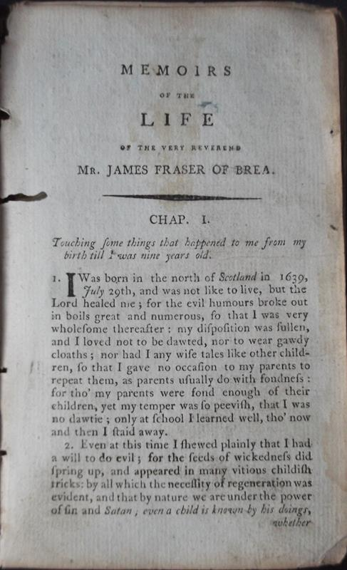 Image for Memoirs of the Life of the Very Reverend Mr James Fraser of Brea